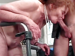 The old woman on stilts sucks cock lad