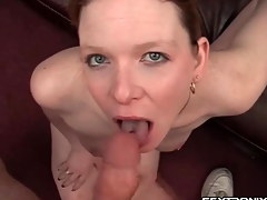 Pierced tongue slut is a grim cocksucker
