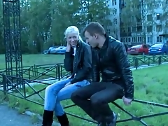 Pretty good teen in boots with an increment of jeans blows him