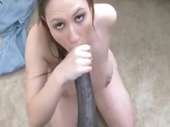 Beautiful brunette worships his big cock