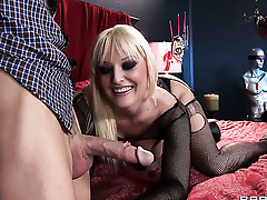 Tristyn Kennedy with huge bowels spends her sexual energy with hard cocked dude Johnny Sins