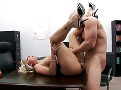 Johnny Sins fucks eye-popping Devon Lees mouth just like crazy