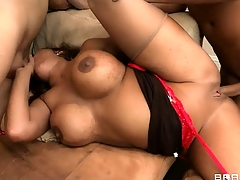 She relishes every thrust of cock inside the brush tight ass together with juicy cunt