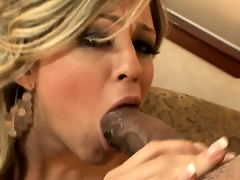 Sexy blonde babe with a hot ass gives a big black cock blowjob